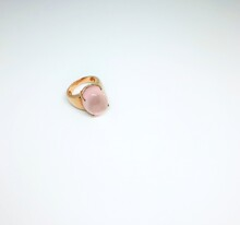 A Gold Ring With Single Pink Beryl(morganite) On White Background