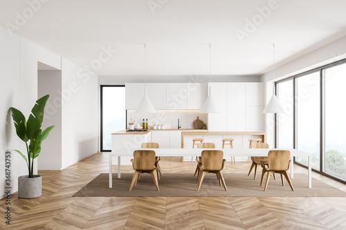 Obraz White kitchen interior with bar and table - fototapety do salonu