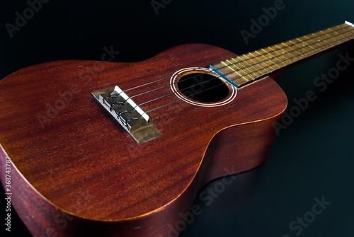 Fényképezés Brown wood ukulele in a black background shot at the side corner.