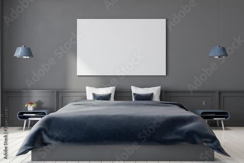 Obraz Grey bedroom interior with poster - fototapety do salonu