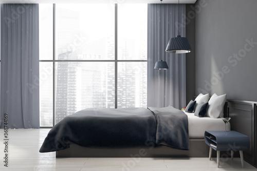 Obraz Grey master bedroom, side view - fototapety do salonu