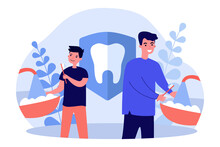 Father And Son Brushing Teeth. Man And Boy With Toothbrushes In Bathroom Flat Vector Illustration. Morning, Hygiene, Tooth Care Concept For Banner, Website Design Or Landing Web Page