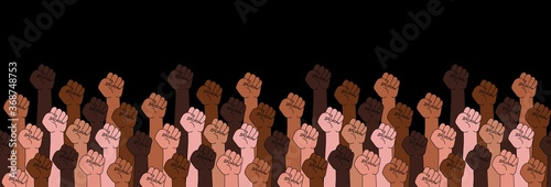 Photo Black lives matter horizontal banner with protest fist in the air