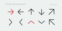 A Set Of Nifty Outline Arrow And Chevron Icons For Web Or App Interface And Presentation Projects