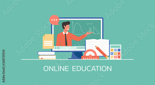 Fényképezés e-learning and online education concept, distance learning, teacher connecting o