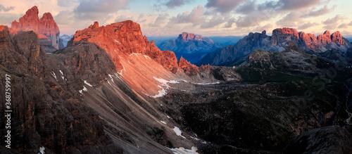 Valokuva Sunrise panorama of dolomites feat