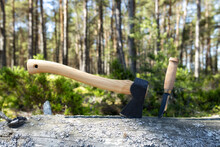 Axe And Knife In Stump. Camping Axe In Wood. Travel, Adventure, Camping Gear, Outdoors Items.