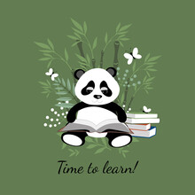 Little Cute Panda Is Reading A Book. Illustration For Children.