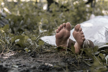 The Legs Of A Corpse Lying In The Forest. Victim Of A Crime. Deceased Person.