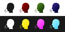 Set Man Coughing Icon Isolated...