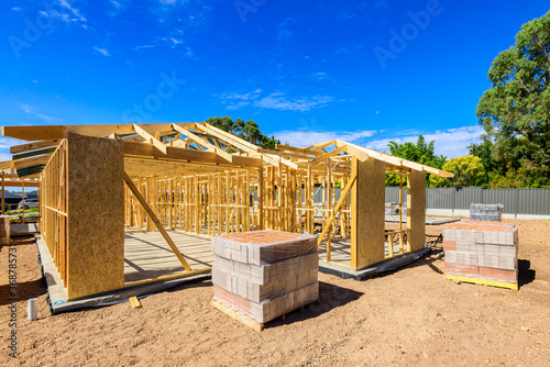 Photo Typical Australian house with masonry veneer walls under construction in South A