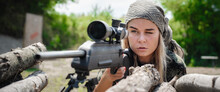 Female Soldier Shooting With S...