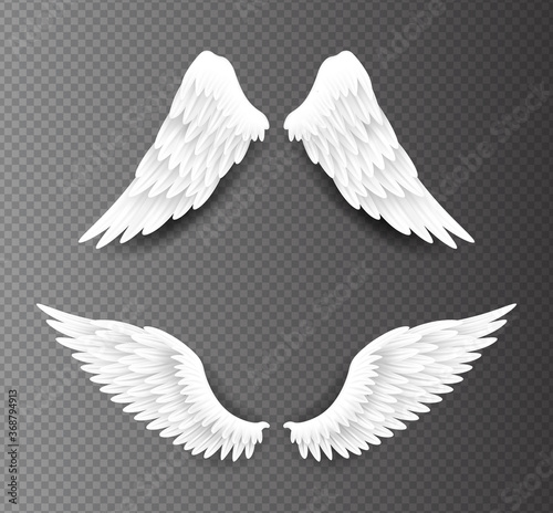 Pair of beautiful white angel wings isolated on transparent background, 3D realistic vector illustration Fototapet