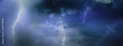 Fototapety, obrazy: Lightning with dramatic clouds. Night thunder storm