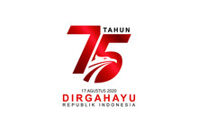Celebrate 75 Tahun Indonesia With Beautiful Wavy Flag, Happy Independence Day Indonesian Translation. Creative Emblem Of Indonesian Happy Independence Day. Logo, Vector Eps10.