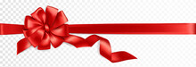 Realistic Gift Bow. Red Ribbon...