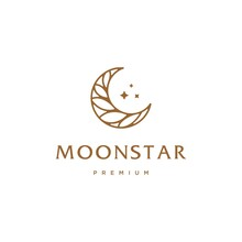 Elegant Crescent Moon And Star Logo Design Line Icon Vector In Luxury Style Outline Linear, Ramadan Kareem, Crescent Moon And Star Illustration For Background Banner, Abstract Crescent Moon Logo