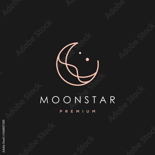 Photo elegant crescent moon and star logo design line icon vector in luxury style outl