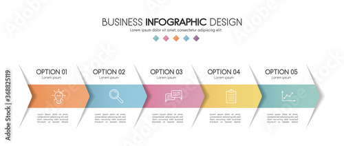 Photographie Business infograph with 5 steps. Colourful diagram. Vector
