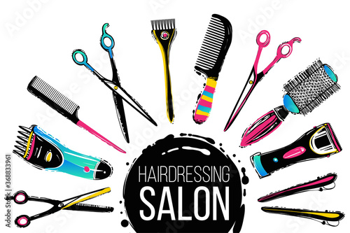 Fotografia Barber shop, haircut & beauty salons banners, flyers, cards template