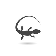 Gecko Tattoo, Lizard Reptile Icon With Shadow