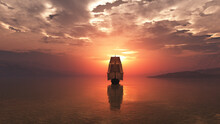 Old Ship At Sea Sunset Illustr...