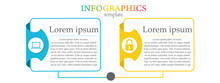 Modern And Creative Business Infographic Template With 2 Elements And Shapes. Can Be Used For Process, Presentation, Education, Diagram, Workflow Layout, Info Graph, Web Design. Vector Illustration