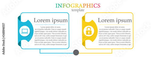 Fototapeta Modern and creative Business Infographic template with 2 elements and shapes. Can be used for process, presentation, education, diagram, workflow layout, info graph, web design. Vector illustration obraz