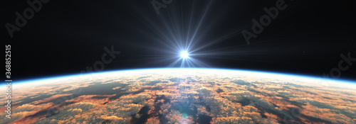 Obraz Earth sunrise from space over cloudy ocean. 3d rendering - fototapety do salonu