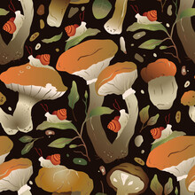 Hand Drawn Trendy Forest Background. Seamless Vector Pattern With Mushroom, Snail And Floral Autumn Design In A Gradient Flat Style.