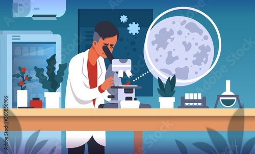 Fototapeta Scientist in lab. Cartoon concept of laboratory research, scientific experiment and medical data collection and analysis. Vector flat illustrations science smart technology researching background obraz