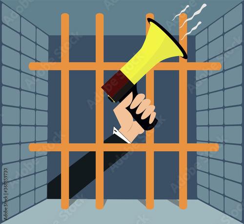 Valokuvatapetti Hand with megaphone behind the bars illustration