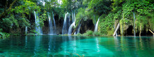 Waterfalls With Clear Water In...