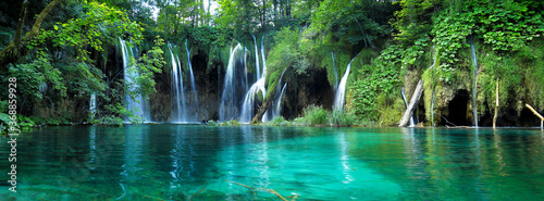 Waterfalls with clear water in Plitvice National Park, Croatia - 368859928