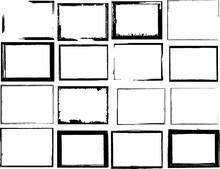 Vector Frames. Rectangles For Image. Distress Texture . Grunge Black Borders Isolated On The Background . Dirt Effect . Geometric Shapes For Your Design