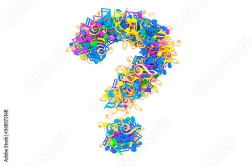 Question mark from colored musical notes. 3D rendering Wallpaper Mural