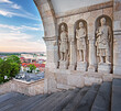 Detail of the famous Fisherman's Bastion in Budapest, Hungary