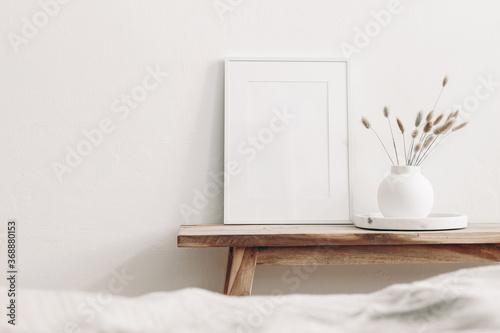 Portrait white frame mockup on vintage wooden bench, table Canvas
