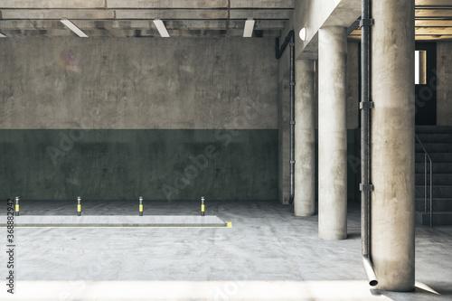 Fotografie, Obraz Minimalistic parking garage underground interior