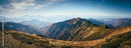 Obraz Autumn Carpathian mountains scenic landscape panorama. - fototapety do salonu