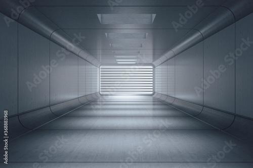 Fototapeta premium Futurystyczna szara sala wewnętrzna z kratą.