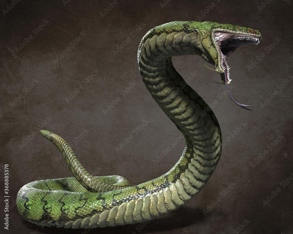 Fototapeta A huge predatory snake. 3d illustrations