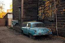 Vintage Car Near The Wooden Ha...