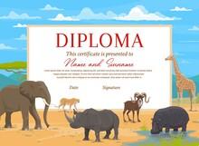 Kids Diploma Certificate Vector Template With African Safari Animals. Education Award Of School, Preschool Or Kindergarten Graduation, Achievement Certificate With Elephant, Rhino, Giraffe And Hippo