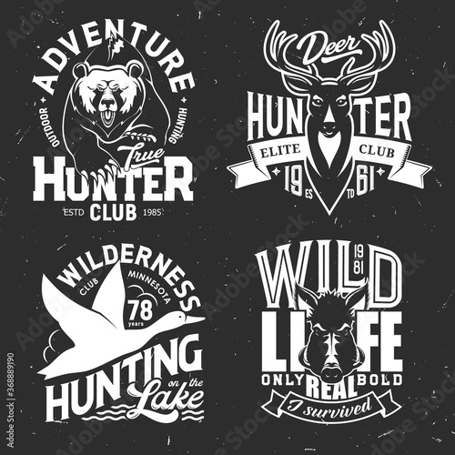 Valokuva Deer, duck, bear and boar t-shirt print of hunting sport club vector mockup