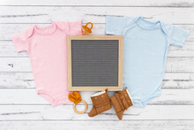 Pregnancy Announcement Gender Reveal Mockup With Letter Board