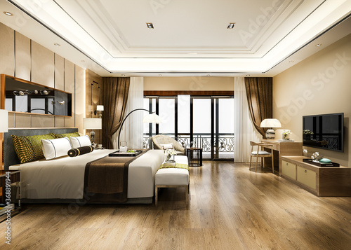 Fototapeta 3d rendering luxury bedroom suite in resort high rise hotel with working table obraz