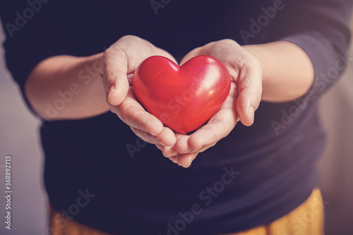 Woman holding red heart, health insurance, donation, happy charity volunteer con Canvas Print