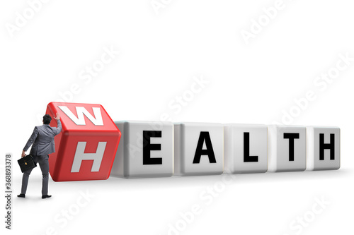 Wealth is health concept with businessman Fototapet