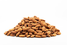 Pile Of Roasted Almonds On White Background